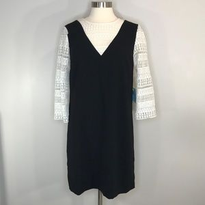CeCe Black Dress with White Lace Size 8 NWT #0645